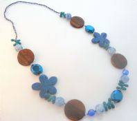 Long Blue And Wood Bead Chunky Statement Necklace.